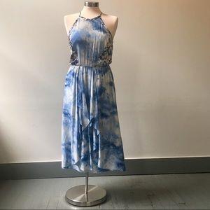 Rebecca Taylor Blue Sleeveless Watercolor Dress 4